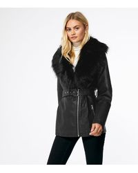 New Look Black Leather-look Faux Fur Collar Belted Jacket