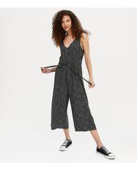 New Look - Petite Black Spot Drawstring Crop Jumpsuit - Lyst