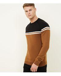 New Look - Rust Saddle Sleeve Colour Block Sweatshirt - Lyst