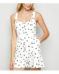 New Look White Spot Button Front Playsuit