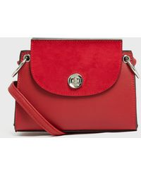 New Look Red Leather-look Suedette Panel Shoulder Bag
