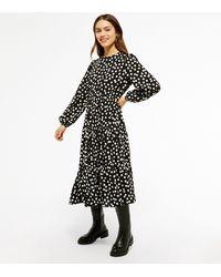New Look - Petite Black Spot Tiered Smock Midi Dress - Lyst