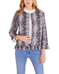Mela Black Animal Print Frill Jacket