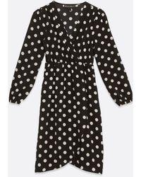 Mela Black Spot Long Sleeve Wrap Dress New Look