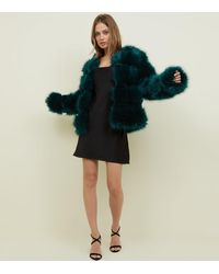 New Look Pelted Faux Fur Coat - Green