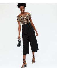Mela Leopard Print Bardot Crop Jumpsuit New Look - Black