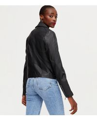 New Look Tall Leather-look Zip Biker Jacket - Black