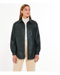 New Look Dark Green Leather-look Utility Pocket Shirt