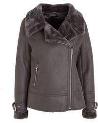 New Look Dark Grey Faux Fur Lined Leather-look Aviator Jacket