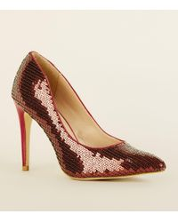 dc47fb5e841 New Look - Rust Sequin Pointed Stiletto Court Shoes - Lyst