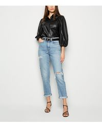 New Look Pale Blue Ripped Tori Mom Jeans