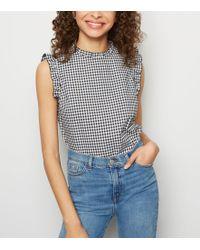 New Look - Black Gingham Frill Trim Sleeveless Shirt - Lyst