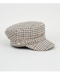 New Look Off White Check Baker Boy Hat