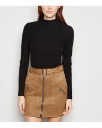 Urban Bliss Tan Suedette Belted Mini Skirt - Multicolour