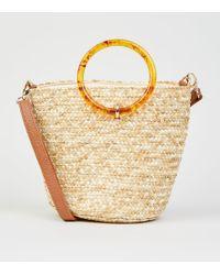 New Look Stone Woven Straw Effect Bucket Bag - Metallic