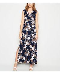 Mela Navy Floral Wrap Maxi Dress - Blue