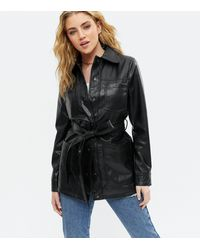 New Look - Black Leather-look Belted Shacket - Lyst