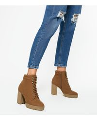 New Look Wide Fit Tan Suedette Lace Up Block Heel Boots - Blue