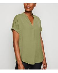 New Look Olive Short Sleeve Overhead Shirt - Green