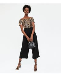 Mela Black Leopard Print Bardot Crop Jumpsuit