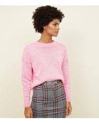 6d17d0d2548 Bright Pink Neon Twist Slouchy Jumper