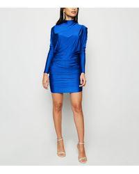AX Paris Bright Blue Ruched High Neck Dress