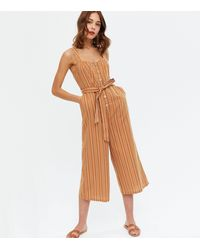 New Look Brown Stripe Button Front Belted Crop Jumpsuit
