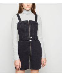 New Look Black Denim Zip Up Mini Dress
