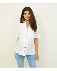 f2bfc95729372 New Look - Maternity Off White Revere Collar Button Front Shirt - Lyst