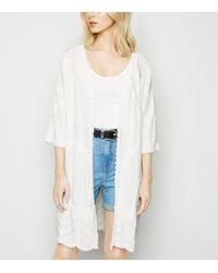 New Look White Crochet Long Kimono