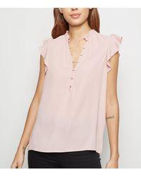 New Look Pale Pink Button Up Sleeveless Shirt