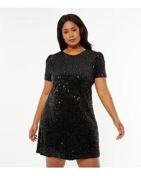 Mela Curves Black Sequin Shift Dress