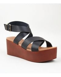 New Look Black Leather-look Strappy Flatform Sandals