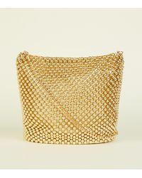 New Look Gold Beaded Bucket Bag - Metallic