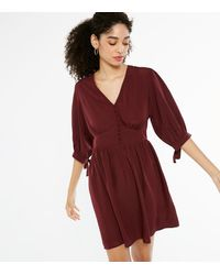 New Look Burgundy Button Front V Neck Mini Dress - Red