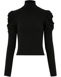 New Look Black High Neck Puff Sleeve Ribbed Top