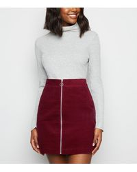 New Look Burgundy Cord Zip Front Mini Skirt - Red