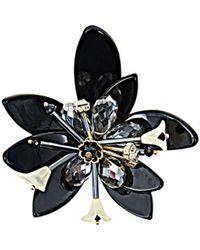 New Look Black 3d Layered Flower Brooch