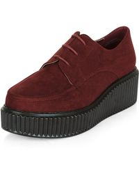 New Look Wide Fit Dark Red Suedette Creepers