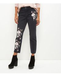 New Look - Black Floral Embroidered Straight Leg Jeans - Lyst