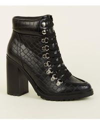 New Look Black Faux Croc Lace Up Heeled Boots