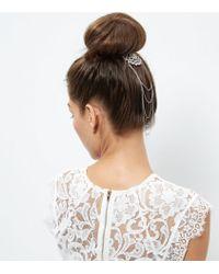 New Look Crystal Chain Hair Brooch - Multicolour