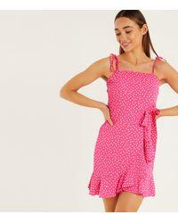 Quiz - Bright Pink Polka Dot Ruffle Mini Dress - Lyst