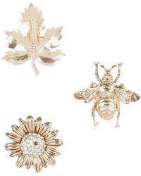 New Look 3 Pack Gold Bug And Flower Brooches - Metallic