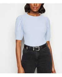 New Look - Pale Blue Crinkle Puff Sleeve T-shirt - Lyst