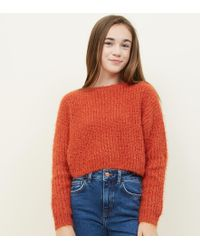 New Look Girls Orange Fluffy Chenille Jumper