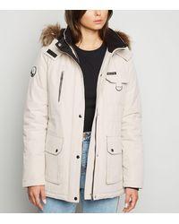 New Look Tall Stone Faux Fur Trim Parka Jacket - Natural