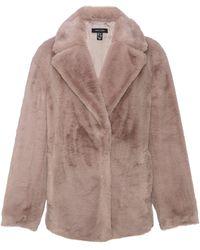 New Look Mink Faux Fur Coat - Brown