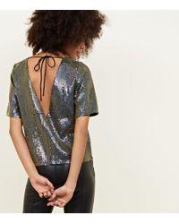 New Look - Black Iridescent Sequin Tie Back T-shirt - Lyst 3233d0592