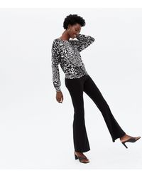 New Look White Animal Print Knot Oversized Top